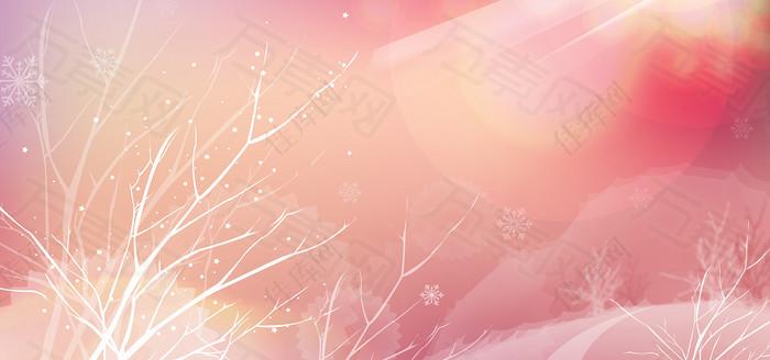 浪漫冬季雪景树木背景