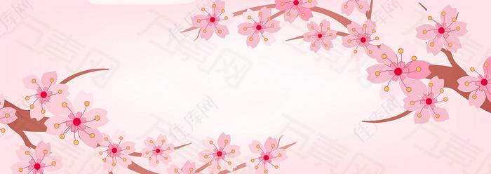 卡通手绘粉色杏花背景banner