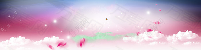 天空梦幻花瓣背景banner