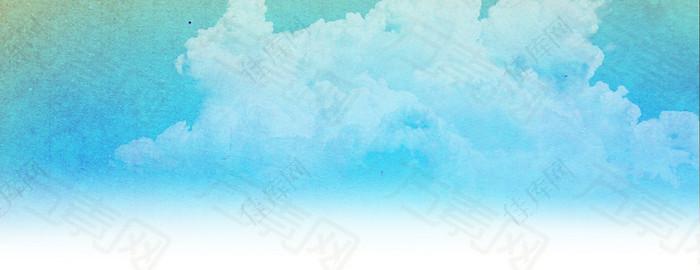 湖蓝白云背景