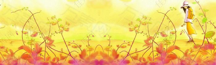 秋季金黄藤蔓背景banner