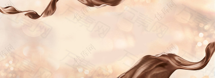 流动巧克力质感丝带海报背景