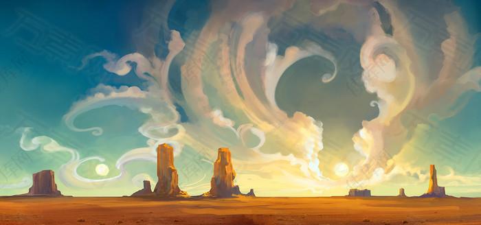 卡通手绘沙漠的烈日