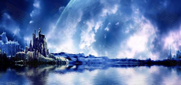 蓝色太空星空背景