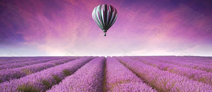 唯美浪漫热气球背景图