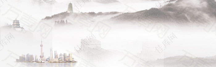 雾里云山虚幻背景