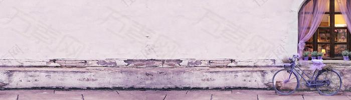 紫色背景 路边 banner