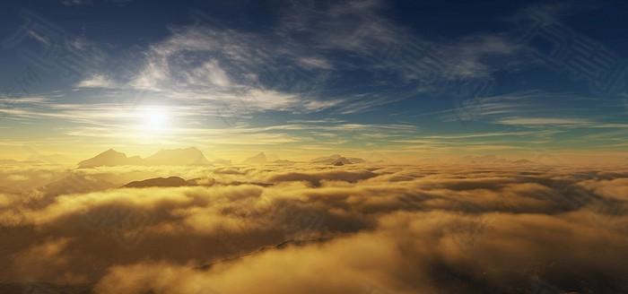 蓝天白云云海背景