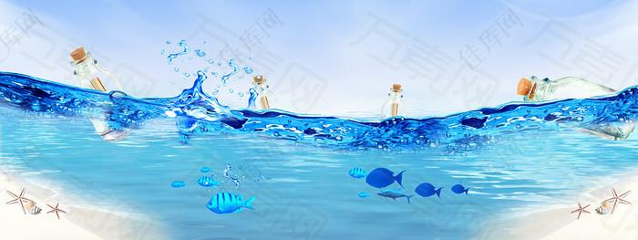 水花蓝色背景