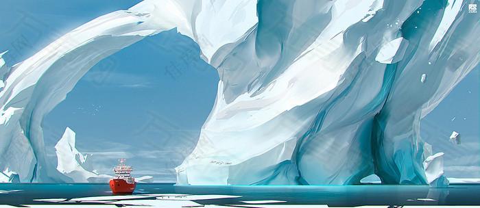 质感冰山背景