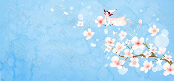 手绘桃花背景