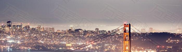 天空夜景梦幻背景图云层高楼桥