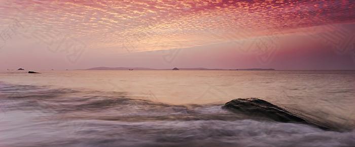 唯美 大海 晚霞 背景