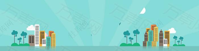 互联网商务科技扁平banner背景