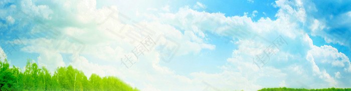 蓝天白云海报banner背景