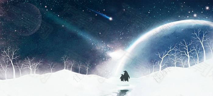 唯美浪漫星空雪景海报背景