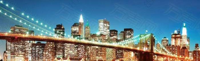 都市夜晚海报背景