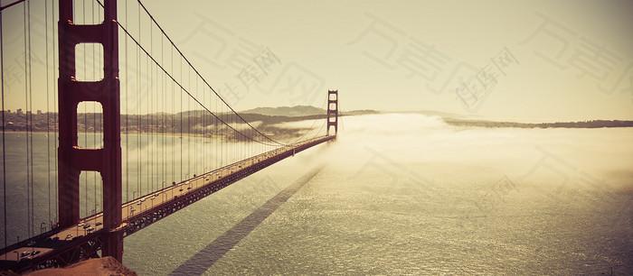 风景海上大桥背景banner