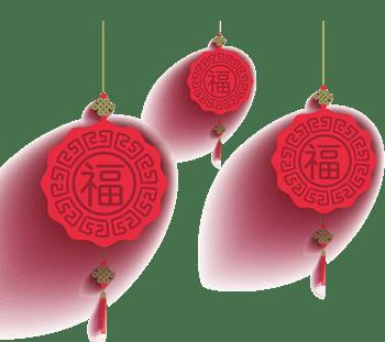 红色圆形中国结灯笼挂件