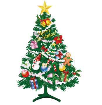 卡通圣诞节圣诞树挂满礼物