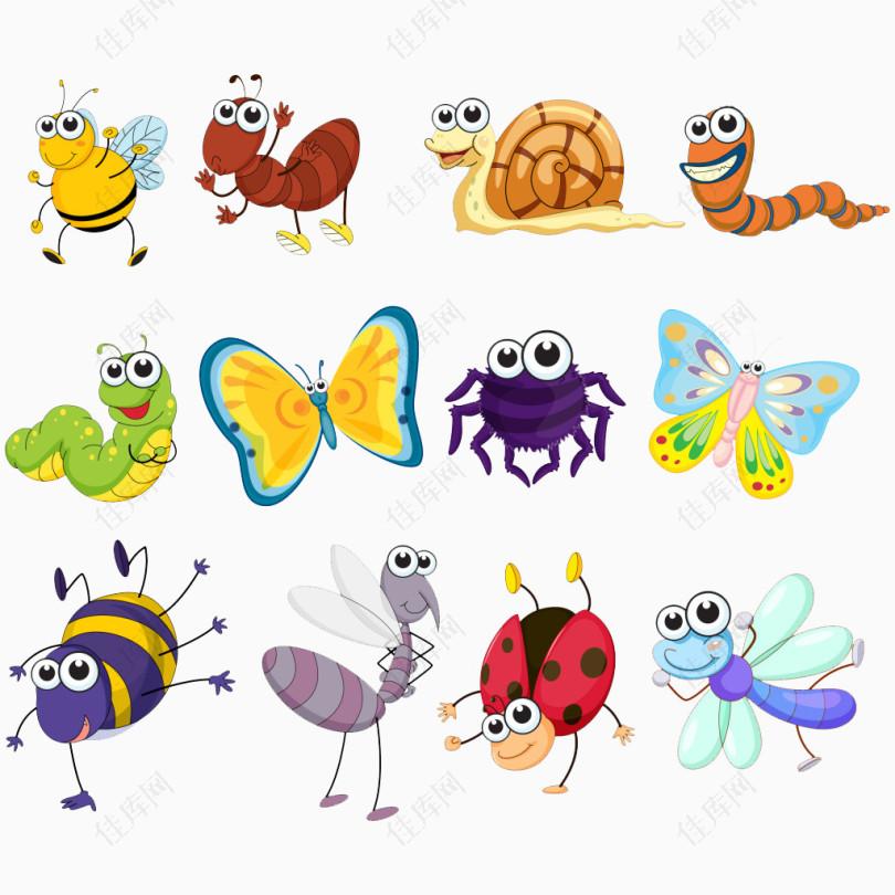 卡通手绘昆虫