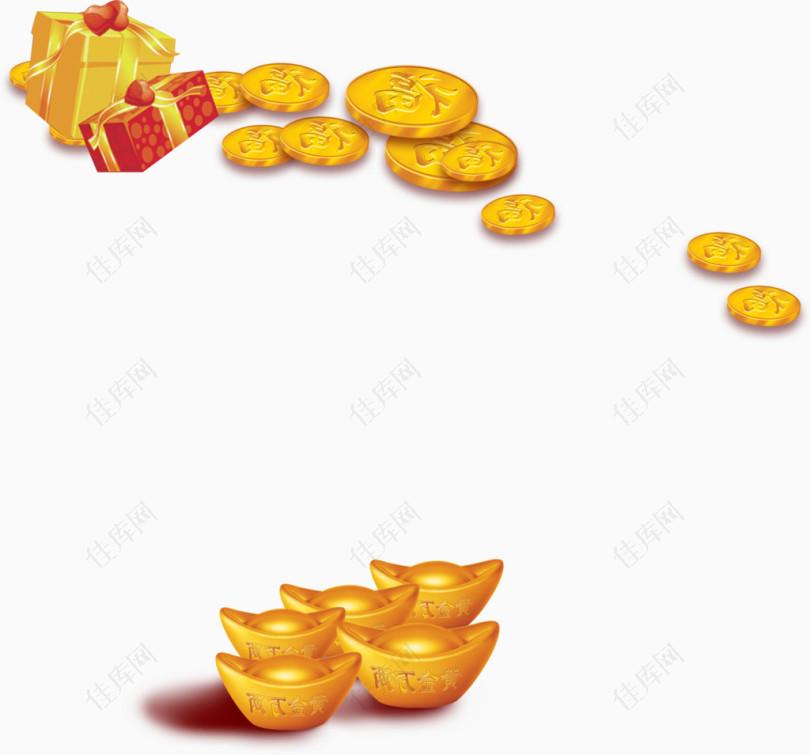 立体金属材质金元宝金币礼盒组合