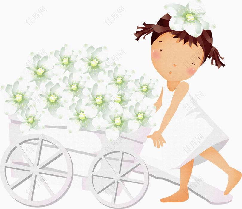 女孩人物花朵白色花朵小车