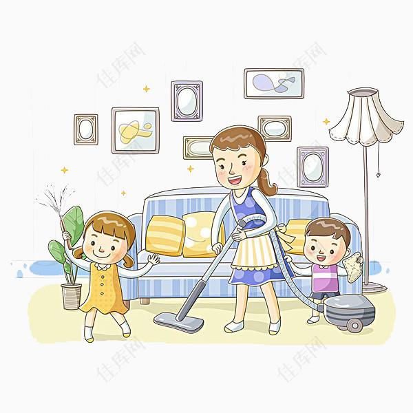 做家务的一家人