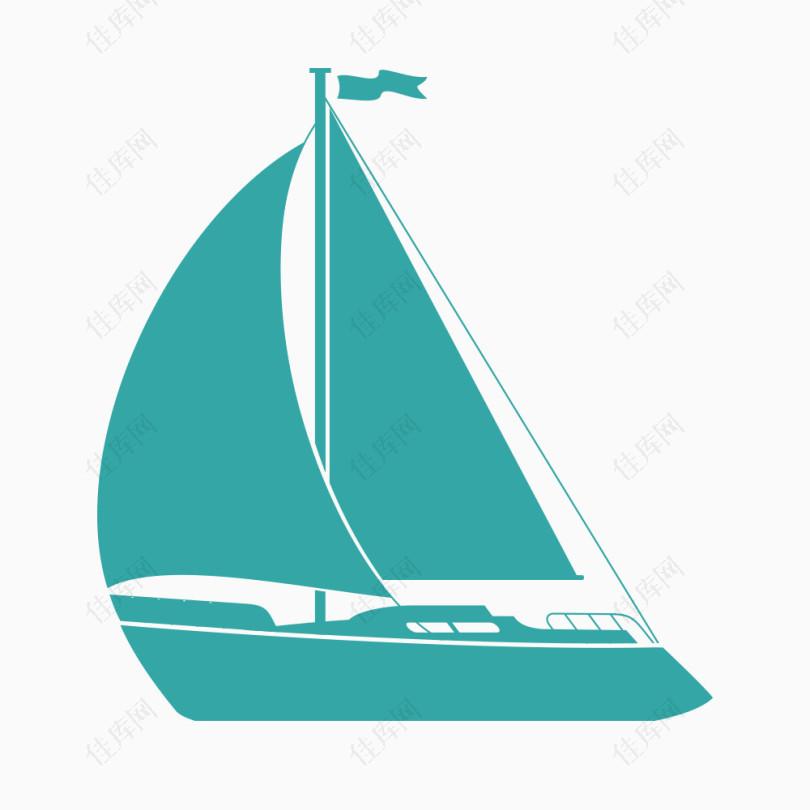 矢量蓝色船帆剪影