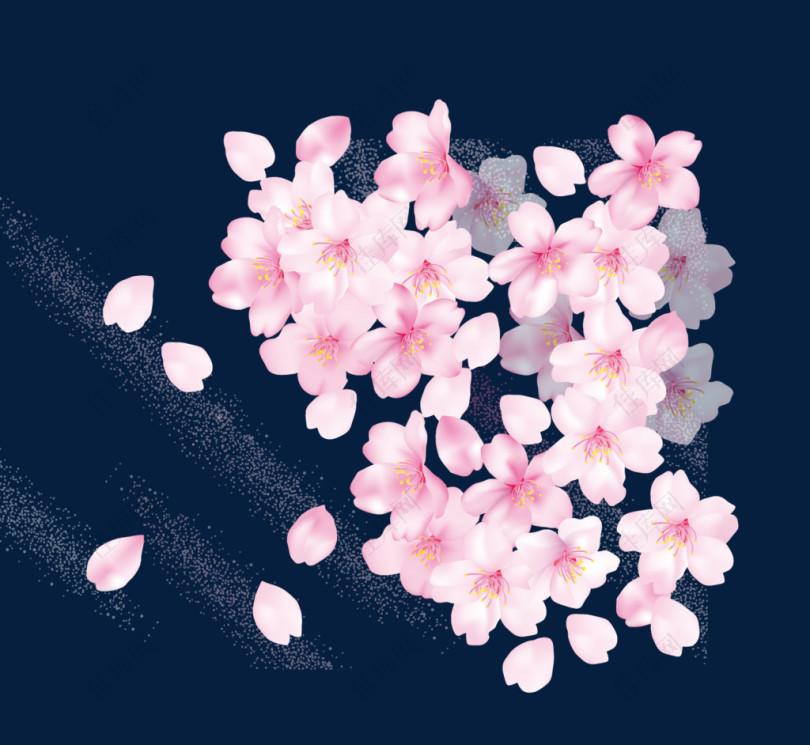 漂浮矢量桃花花瓣
