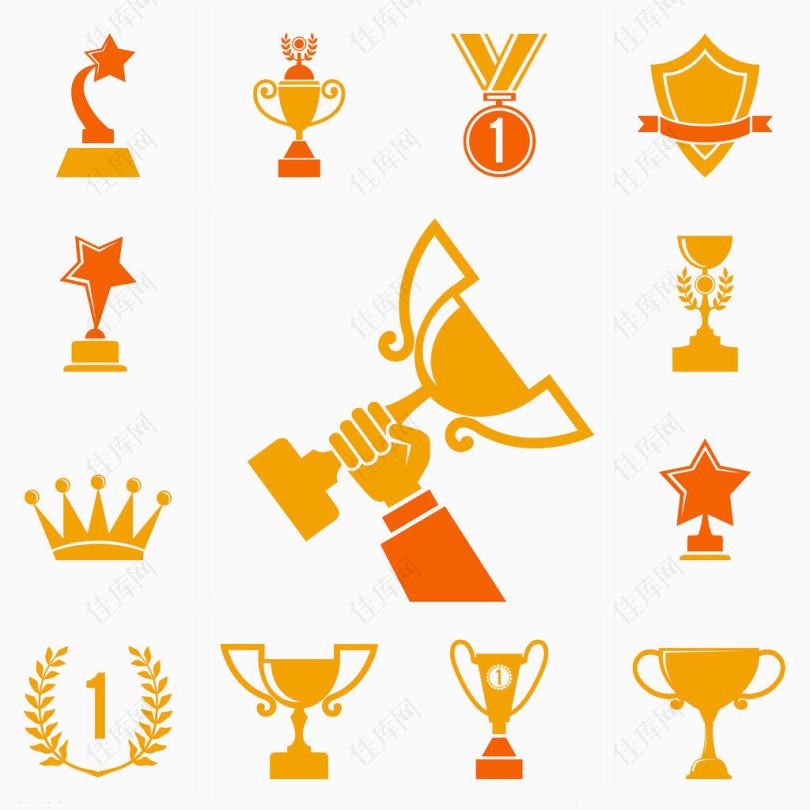 黄色简易的冠军标志