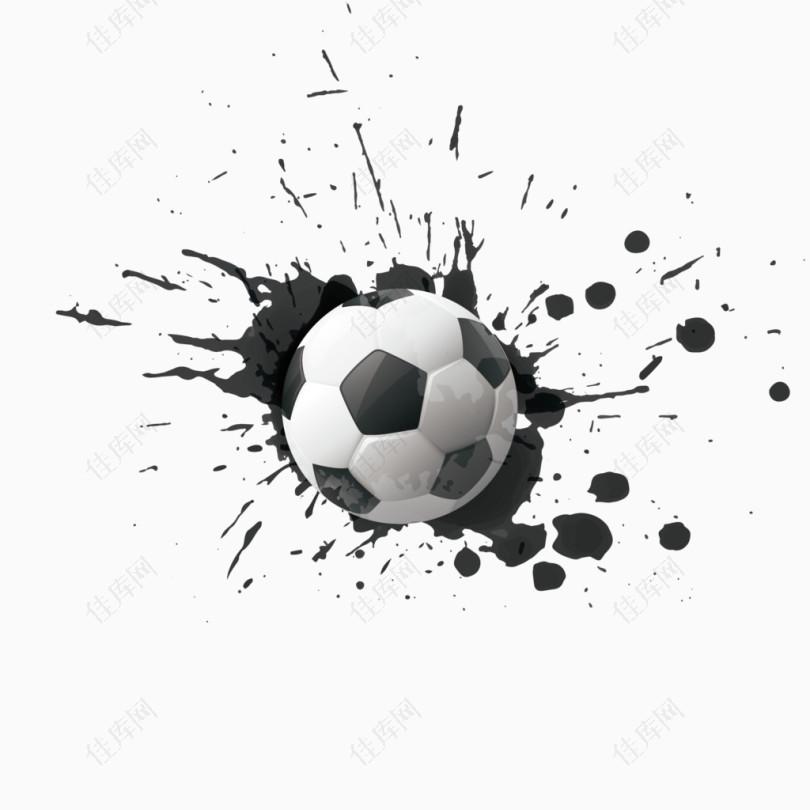 矢量水墨和足球