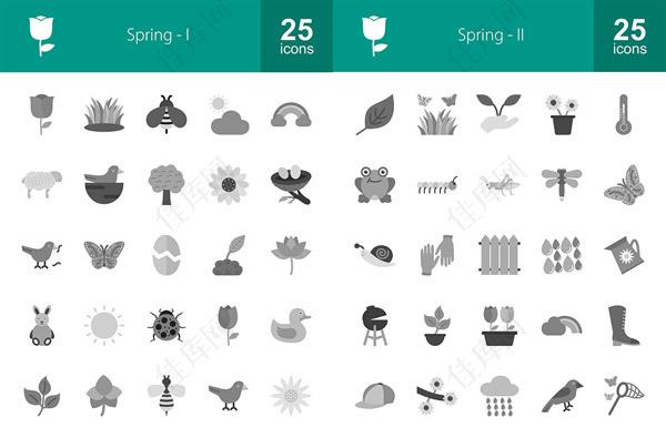春天元素图标