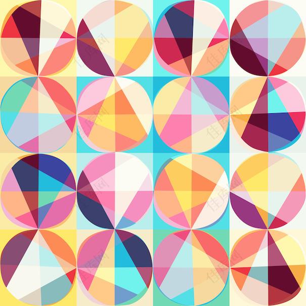 圆形和三角形的彩色圆圈无缝碎花图案的抽象图案鲜艳的几何无