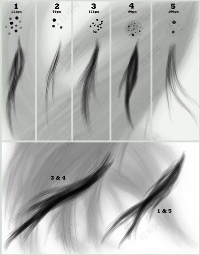 手绘毛发笔刷