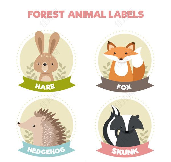 可爱动物标签