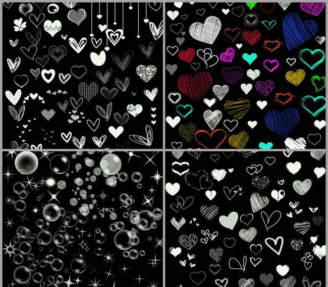 漂亮的手绘心形和星光泡泡笔刷