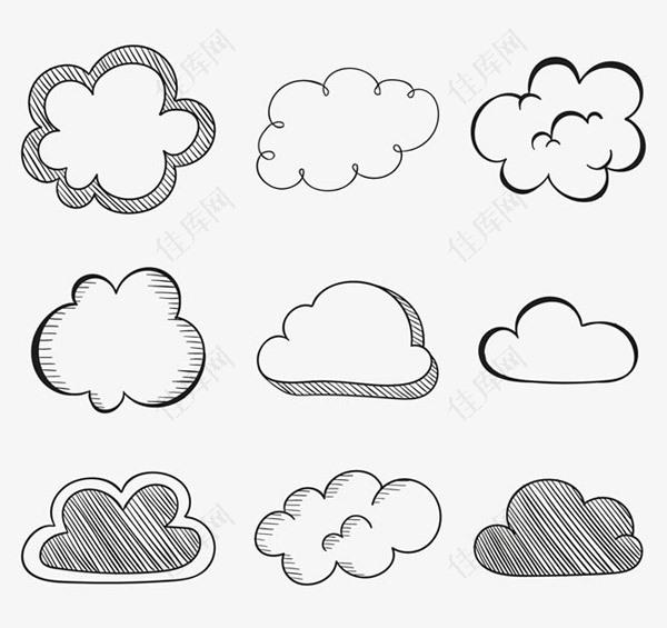 手绘云朵矢量素材下载