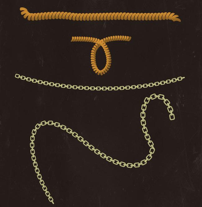 10款逼真的铁链和电话线笔刷