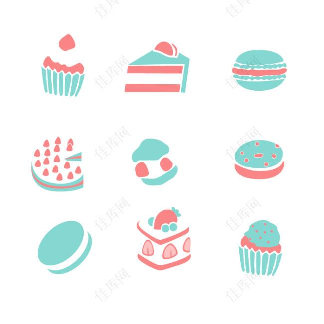 手绘可爱蛋糕甜点