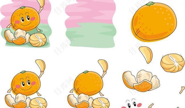 手绘橘子表情图片