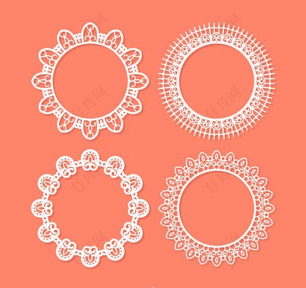 蕾丝花纹圆环矢量