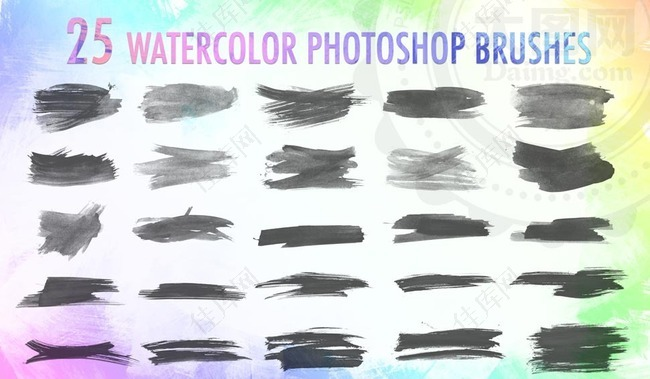 25款中国风水墨涂抹特效笔刷