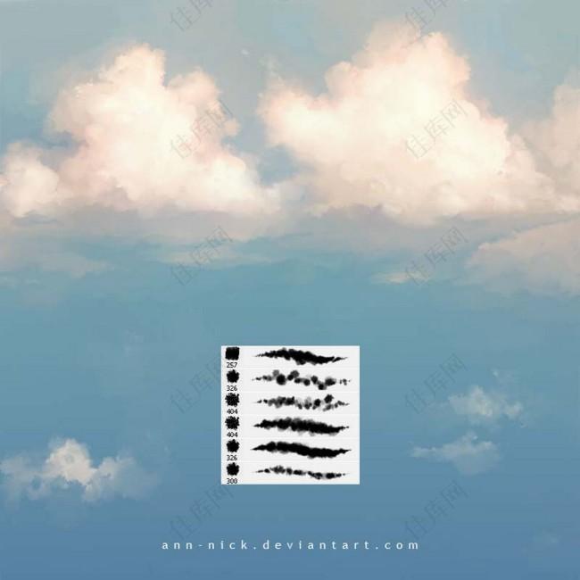 超酷的天空云彩云朵PS笔刷