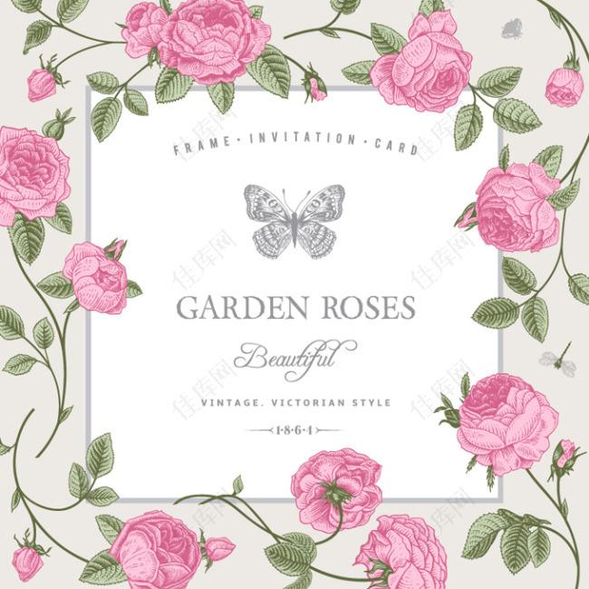 复古玫瑰装饰边框