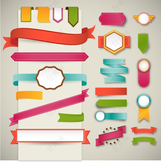 扁平简约折纸标签和飘带设计矢量