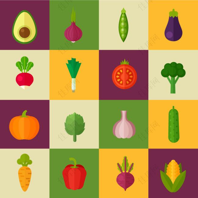 扁平化蔬菜水果图标