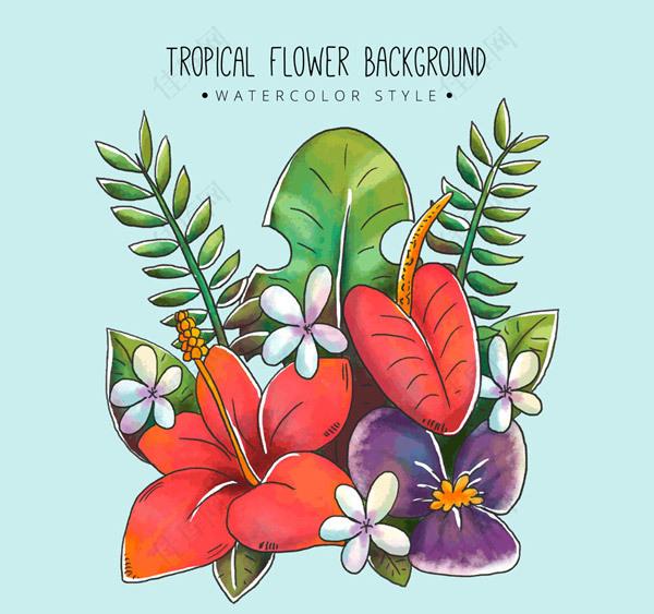 水彩绘热带花束