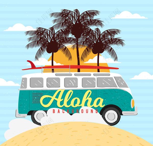 夏威夷沙滩度假车