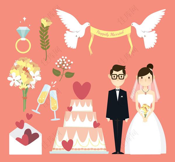 婚礼元素矢量